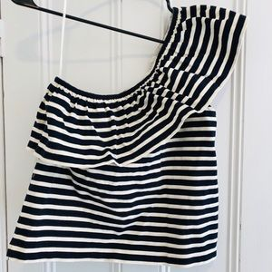 J Crew one shoulder ruffle tank.